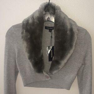 Express Design Studio Gray Fur-Trimmed Crop Top
